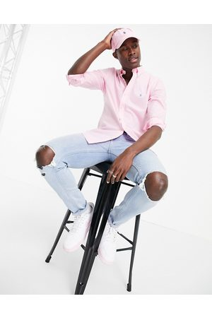 Polo Ralph Lauren Poplin player logo shirt button down slim fit in carmel pink