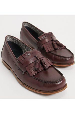 Silver Street Wide Fit leather tassel loafer in burgundy