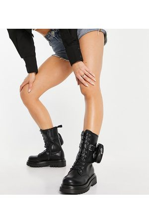 Truffle Collection Wide fit mid height chunky lace up boots in black with detachable pouch