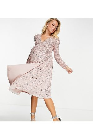 Maya Embellished midi wrap dress in frosted pink