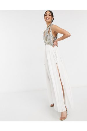 ASOS High neck armour embellished maxi dress with cut out detail