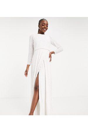 Maya Embellished long sleeve maxi dress with slit in white