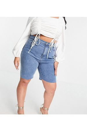 In The Style X Olivia Bowen exclusive cut off denim longline shorts in blue