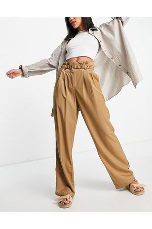 VILA Tailored suit wide leg trousers in camel