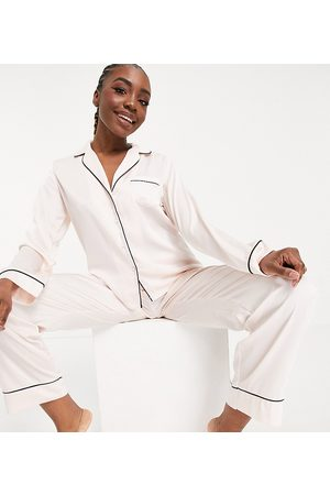 ASOS ASOS DESIGN Tall satin long sleeve shirt & trouser pyjama set in pink
