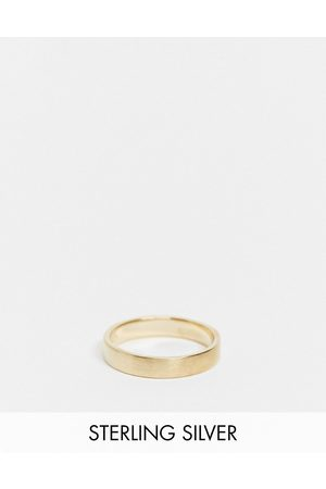 ASOS Sterling silver band ring in brushed in 14k gold plate