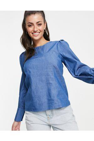VILA Denim top with sweet heart detailing in blue