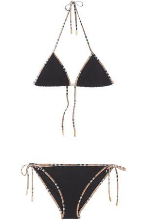 Burberry Mujer Bikinis - Bikini De Nylon Estampado Con Cuadros