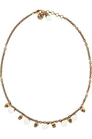 Alexander McQueen Mujer Collares - Skull faux pearl-embellished necklace
