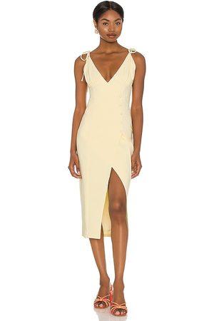 Camila Coelho Mujer Midi - Vestido midi aaliyah en color amarillo talla L en - Yellow. Talla L (también en XXS, XS, S, M, XL).