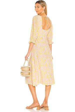 FAITHFULL THE BRAND Mujer Midi - Vestido midi clement en color pink,yellow talla L en - Pink,Yellow. Talla L (también en XS, S