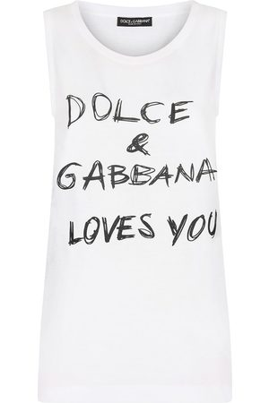Dolce & Gabbana Mujer Playeras - Camiseta con eslogan estampado