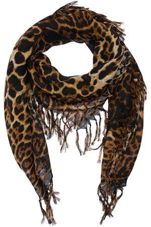 Saint Laurent Mujer Bufandas - Bufanda Cuadrada De Lana Toile Estampado Leopardo