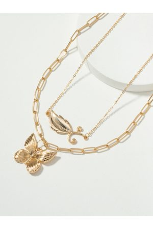 YOINS 2pc Butterfly & Feather Pendant Necklaces