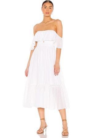 MAJORELLE Vestido midi selvaggia en color talla L en - White. Talla L (también en XXS, XS, S, M, XL).