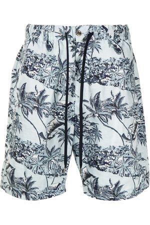 PT01 Hombre Bermudas - Shorts náuticos con estampado tropical