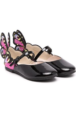 SOPHIA WEBSTER Niña Flats - Chiara embroidered-wing leather-blend shoes