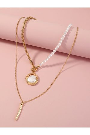 YOINS Mujer Collares - 2pc Faux Pearl & Twist Chain Necklaces