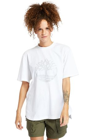 Timberland Mujer Playeras manga corta - Reflective Logo Oversized Short Sleeve T-shirt L White