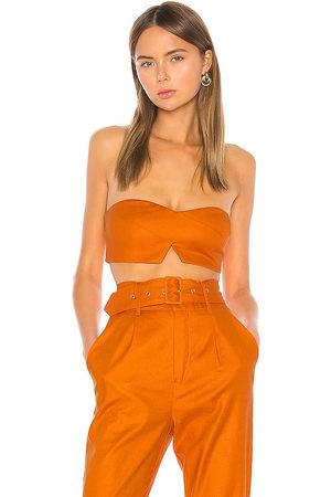 Camila Coelho Top corto josephina en color burnt orange talla L en - Burnt Orange. Talla L (también en XXS, XS, S, M, XL).