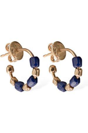 Dodo Pendientes Granelli Cerámica Azul Y Oro Rosa 9kt