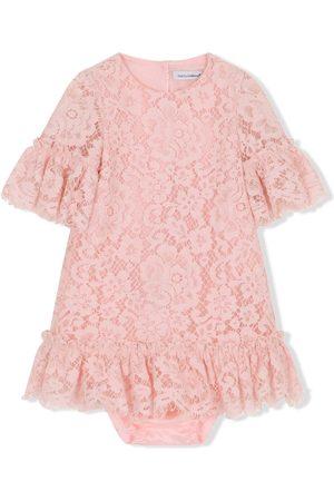 Dolce & Gabbana Kids Vestidos - Vestido con capa de encaje
