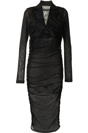 Y / PROJECT Mujer Cóctel - Vestido fruncido a rayas diplomáticas