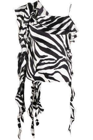 BLUMARINE Mujer Blusas - Blusa asimétrica con estampado de cebra