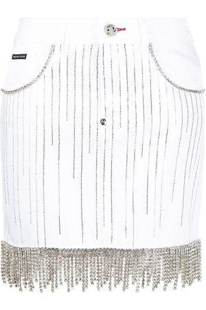 Philipp Plein Falda de mezclilla con cristales