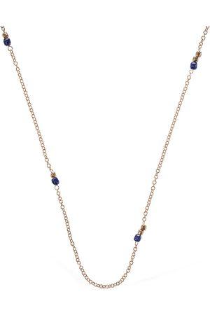 Dodo Collar Granelli Cerámica Azul Y Oro Rosa 9kt