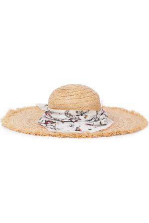 Erdem Raffia hat with bandana
