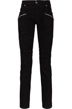 Balmain Hombre Skinny - Skinny jeans con estampado de leopardo