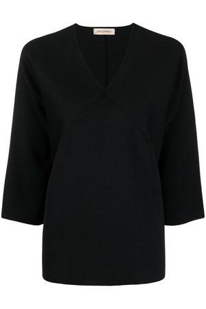 GENTRYPORTOFINO Mujer Tops - Top de seda con paneles
