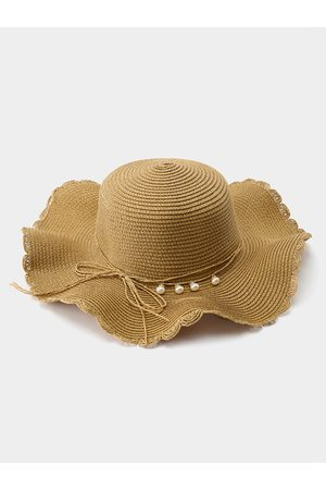 YOINS Mujer Sombreros - Pearl Bowknot Beach Straw Hat