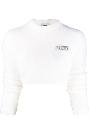 GCDS Mujer Suéteres - Suéter corto con placa del logo