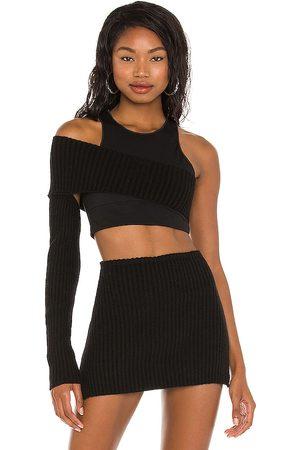 DANIELLE GUIZIO Rib knit shrug off shoulder top en color talla L en - Black. Talla L (también en XS, S, M).