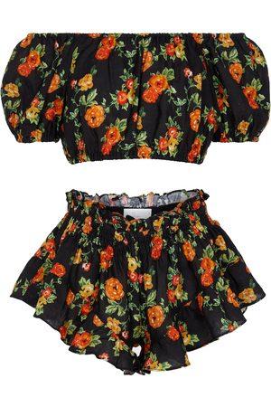 Caroline Constas Exclusive to Mytheresa – Floral linen bandana, crop top and shorts set