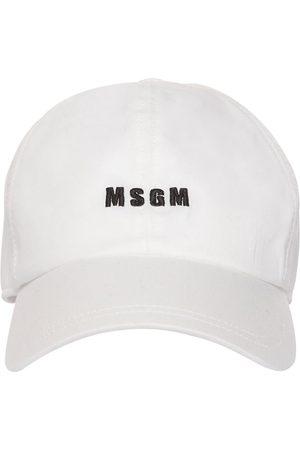 Msgm Gorra De Lona De Algodón Con Logo Bordado