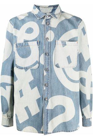 Moschino Hombre De mezclilla - Camisa de mezclilla con estampado gráfico