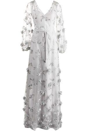 Marchesa Notte Vestido de mezclilla con detalle floral