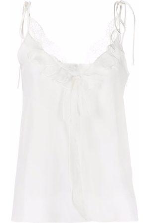 Alexander McQueen Mujer Camisones - Camisón de seda con ribete de encaje