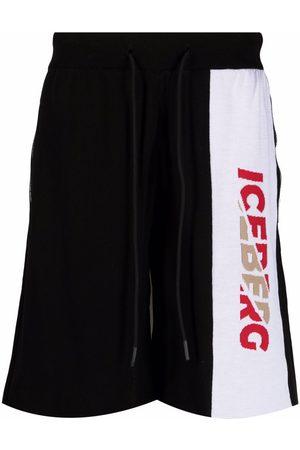 Iceberg Hombre Shorts - Shorts deportivos con logo tejido de intarsia