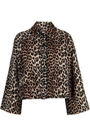 Ganni Chamarra con estampado de leopardo