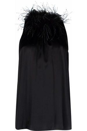 Styland Mujer Blusas - Blusa sin mangas con cuello de plumas