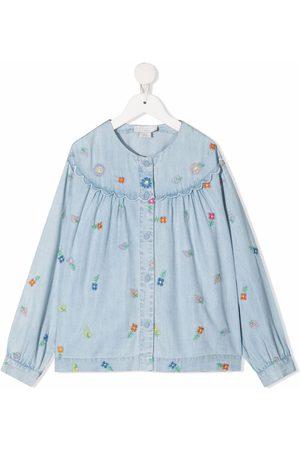 Stella McCartney Niña De mezclilla - Camisa de mezclilla con bordado floral