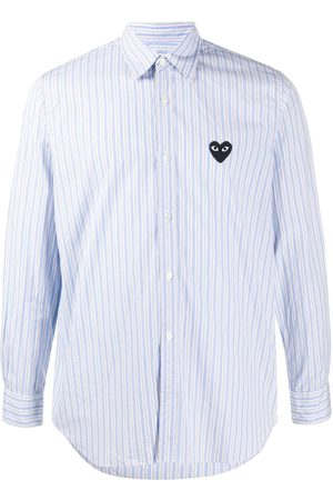 Comme des Garçons Hombre Camisas - Camisa a rayas con parche de corazón