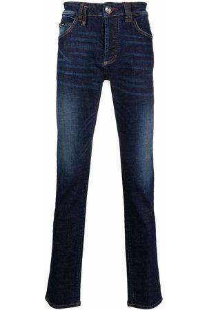 Philipp Plein Hombre Skinny - Jeans rectos con bordado Skull