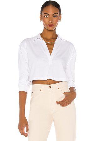 L'Academie Mujer Playeras - Camiseta recortada ls en color talla L en - White. Talla L (también en XS, S, M, XL).