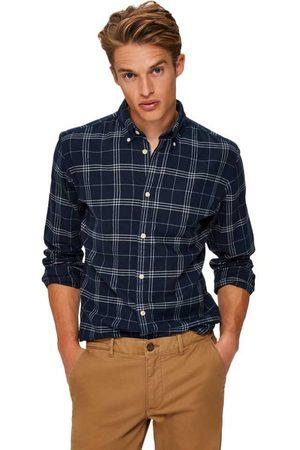 SELECTED Hombre Camisas - Slim Flannel L Dark Blue / Checks Grey