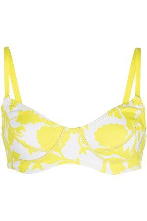 Cynthia Rowley Top de bikini con estampado abstracto
